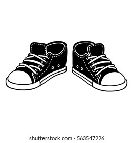 Black canvas sneakers cartoon drawing. Classic sports shoes hand drawn vector illustration.
