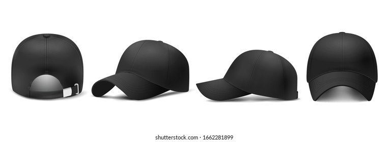Black cap Mockup, realistic 3D style. Hat blank template, baseball caps, vector illustration set. Collection of modern realistic fashion accessories,headgear,headwear, headdress