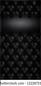Black capitonated, tufted leather vector illustration