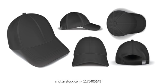 black caps from different sides on a white background Vector