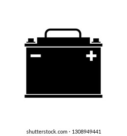 Black Car battery icon isolated on white background. Accumulator battery energy power and electricity accumulator battery. Vector Illustration