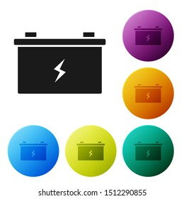 Black Car battery icon isolated on white background. Accumulator battery energy power and electricity accumulator battery. Set icons colorful circle buttons. Vector Illustration