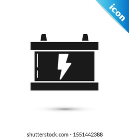 Black Car battery icon isolated on white background. Accumulator battery energy power and electricity accumulator battery. Lightning bolt.  Vector Illustration