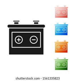 Black Car battery icon isolated on white background. Accumulator battery energy power and electricity accumulator battery. Set icons colorful. Vector Illustration