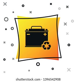 Black Car battery with recycle icon isolated on white background. Accumulator battery energy power and electricity accumulator battery. Yellow square button. Vector Illustration