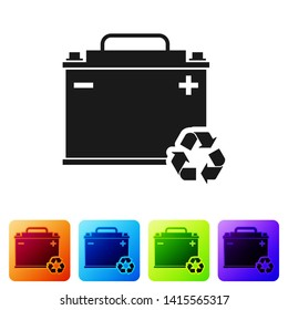 Black Car battery with recycle icon isolated on white background. Accumulator battery energy power and electricity accumulator battery. Set icon in color square buttons. Vector Illustration
