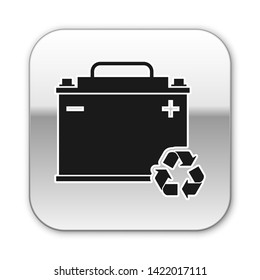 Black Car battery with recycle icon isolated on white background. Accumulator battery energy power and electricity accumulator battery. Silver square button. Vector Illustration