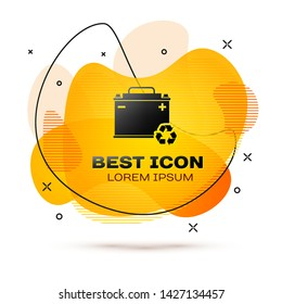 Black Car battery with recycle icon isolated on white background. Accumulator battery energy power and electricity accumulator battery. Fluid color banner. Vector Illustration