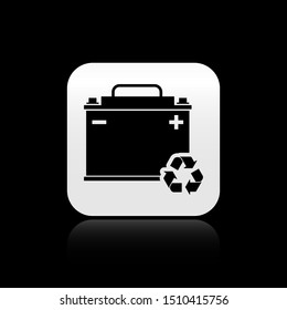 Black Car battery with recycle icon isolated on black background. Accumulator battery energy power and electricity accumulator battery. Silver square button. Vector Illustration