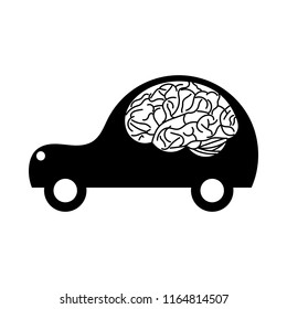 Black car icon with brain inside on white background. Autopilot concept symbol. Simple vector illustration of smart driverless vehicle with artificial intelligence. Cartoon ai technology logo graphic