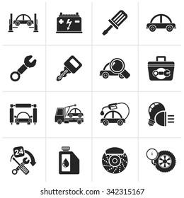 Black Car service maintenance icons - vector icon set