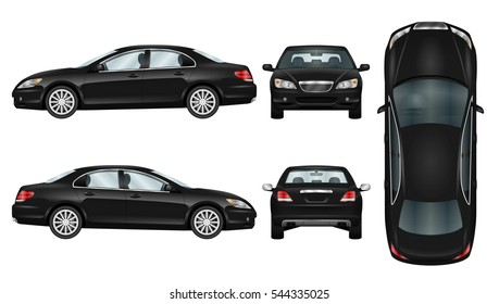 Black car vector template. Business sedan isolated. The ability to easily change the color. All sides in groups on separate layers. View from side, back, front and top.