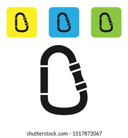 Black Carabiner icon isolated on white background. Extreme sport. Sport equipment. Set icons colorful square buttons. Vector Illustration
