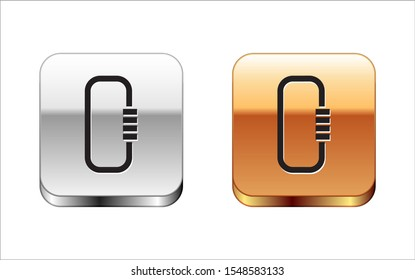 Black Carabiner icon isolated on white background. Extreme sport. Sport equipment. Silver-gold square button. Vector Illustration