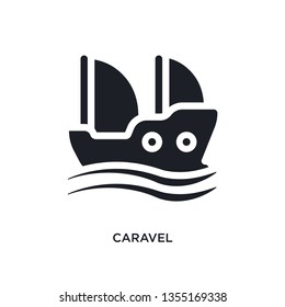 black caravel isolated vector icon. simple element illustration from nautical concept vector icons. caravel editable logo symbol design on white background. can be use for web and mobile