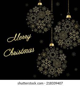 black card  with stylization christmas  ball