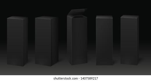 Black cardboard box mockup. Premium packaging boxes, dark package and pack mock up template 3D vector set