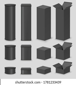 Black cardboard box mockup set, vector isolated illustration. Realistic open and closed, round and rectangular, cylinder tube packaging containers, gift boxes in different sizes.