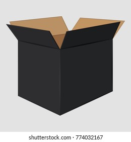 Black Cardboard Open Box. Side View. Package Design. Isolated on Gray