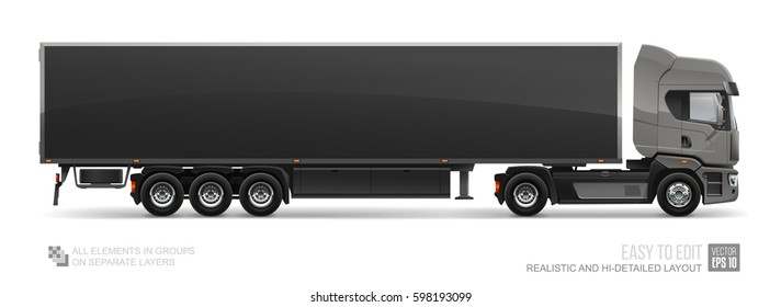 Black Cargo Truck Trailer - vector mockup template isolated on white background.  Blank Delivery Truck Trailer mockup for corporate brand identity and advertising design. Realistic semi truck