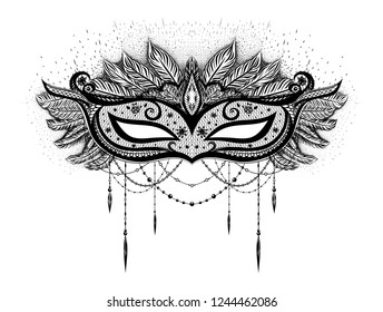 Black carnival mask with feathers and beards on the white background. Mardi gras.