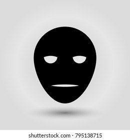 Black carnival mask for masquerade costume. Isolated on grey background