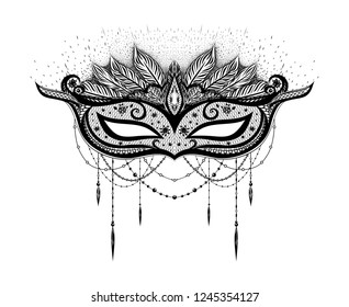 Black carnival mask on the white background. Symbol of holidays. Romatic and erotic print for t shirt, tattoo art.