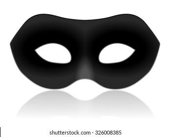 Black carnival mask on a white background.