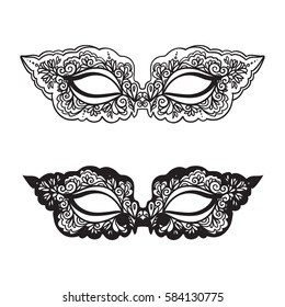 Black carnival mask on the white background. Beautiful lace mask. Vector illustration