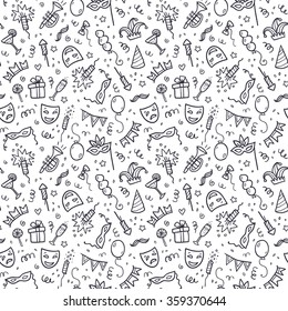Black carnival symbols in doodle style on white background, vector seamless pattern