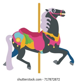 Black Carousel Horse with pale mane and tail