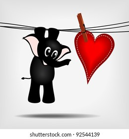 black cartoon baby elephant hanging on washing line with big red heart - vector illustration