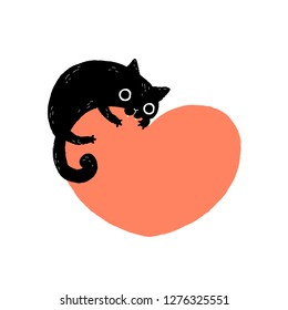 Black cartoon cat biting a huge heart. Valentine's Day greeting card.