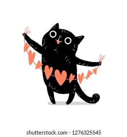 Black cartoon cat with googly eyes holding paper hearts garland. Valentine's Day greeting card. Cute kitty character.