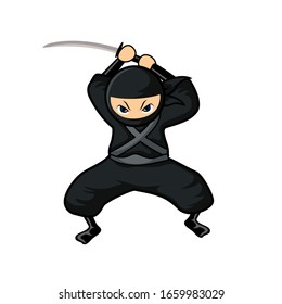 black cartoon ninja attack with sword on top and the wide leg
