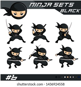 black cartoon ninja with six different pose 6 using sword as weapon