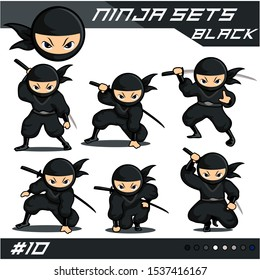 Black Cartoon ninja with six different moves. can be used as logo or mascot