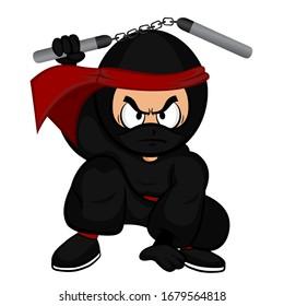Black cartoon ninja warrior crouch down with nunchaku on white background