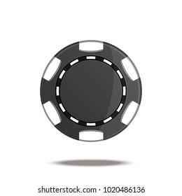 Black casino chip. vector illustration