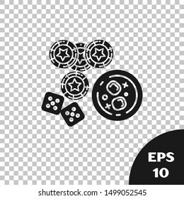 Black Casino chips, game dice and glass of whiskey with ice cubes icon isolated on transparent background. Casino poker.  Vector Illustration