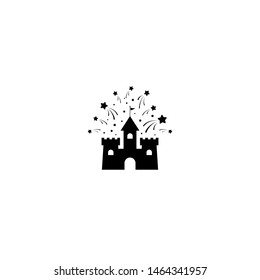 Black castle with stars or fireworks icon. Tower, fortress. fairy tale, magic, fantasy logo. Holiday. Vector illustrarion isolated on white