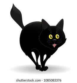 Black cat, arched back, Meows, sparkles with yellow, bright eyes. Animated character, dear. A mystical animal, a bad omen. Isolated, on white background, Vector illustration.