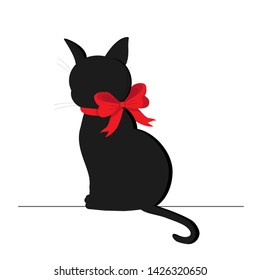 BLACK CAT BACK WITH RED BANT ON NECK. MULTIPLE CHARACTER