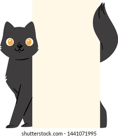 Black cat banner vector kitten character peeking behind cardboard kitty holding copy space message poster illustration set of pussycat pet animal advertising isolated on background