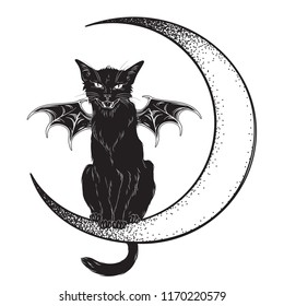 Black cat with bat wings sitting on the crescent moon isolated line art and dotwork vector illustration. Witches familiar spirit animal, gothic style card or poster design