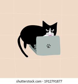 Black cat bites laptop. Cartoon cat with evil eyes typing on laptop. Doodle illustration vector.