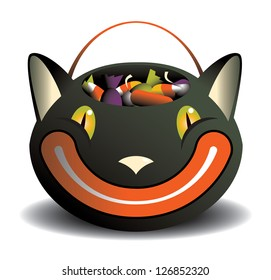 Black Cat candy basket An isolated vintage style grinning black cat candy basket full of candy.