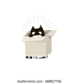 black cat in carton, paper cut style illustration