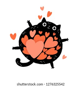 Black cat cartoon character with a belly full of hearts. Valentine's Day greeting card. Floating funny cat in love.