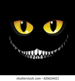 Black cat in darkness. Glowing eyes and a sinister smile. Vector illustration.